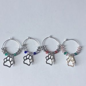 4 WINE GLASS CHARM MARKERS!  PAW PRINT CHARMS!